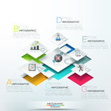 Modern infographics options banner. With 3d white blocks, steps for 8 options. Vector. Can be used for web design and  workflow layout Royalty Free Stock Images