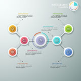 Modern infographics options banner. Modern flowchart or mindmap infographics template with paper circles, icons and pie chart. Vector. Can be used for web Royalty Free Illustration