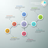 Modern infographics options banner. Modern flowchart or mindmap infographics template with paper circles, icons and pie chart. Vector. Can be used for web Stock Illustration