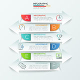 Modern infographics options banner. Modern infographic options banner with 6 arrows made of colorful paper shapes. Vector. Can be used for web design, workflow Stock Illustration