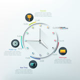 Modern infographics options banner. Modern infographic timeline with creative minimal clock for 12 steps. Vector. Can be used for web design and workflow layout Stock Illustration