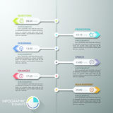 Modern infographics options banner. Modern infographic timeline with paper arrows and flat icons for 6 steps. Vector. Can be used for web design and  workflow Royalty Free Illustration