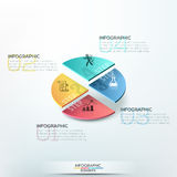 Modern infographics options banner. Isometric infographics options template with 3d colorful circle divided into 4 parts. Vector. Can be used for web design and Stock Images