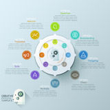 Modern infographics options banner with 8-options circle chart and icons. Vector. Can be used for web design and  workflow layout Vector Illustration