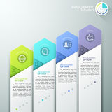 Modern infographics options banner. With 4 paper arrows and flat icons on grey background. Vector. Can be used for web design and workflow layout vector illustration