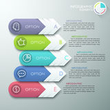 Modern infographics options banner. With 4 paper arrows and flat icons on grey background. Vector. Can be used for web design, presentations, brochures and Stock Illustration