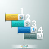 Modern infographics options banner. Modern infographics options banner with 4 paper colorful ribbons and big numbers. Vector. Can be used for web design and Royalty Free Illustration