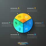Modern infographics options banner. Modern infographics paper pie chart template for 6 options on dark background. Vector. Can be used for web design and Stock Photo