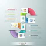 Modern infographics options banner. With 6 paper ribbons and flat icons on bright background. Vector. Can be used for web design and  workflow layout Royalty Free Illustration