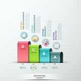 Modern infographics options banner. With 4 paper ribbons and flat icons on bright background. Vector. Can be used for web design and  workflow layout Stock Illustration