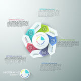 Modern infographics options banner. Modern infographics options banner with 5-part arrow process chart and icons. Vector. Can be used for web design and Royalty Free Illustration