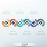 Modern infographics options banner. Modern infographics options banner with 6-part arrow process. Vector. Can be used for web design, presentations, brochures Vector Illustration