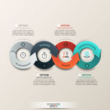 Modern infographics options banner with 4-part arrow process. Stock Photo