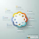 Modern infographics options banner. Modern infographics options banner with 8-part paper pie chart and flat icons. Vector. Can be used for web design and Stock Illustration