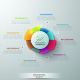 Modern infographics options banner. Modern infographics options banner with 8-part pie chart on grey background. Vector. Can be used for web design and workflow Vector Illustration