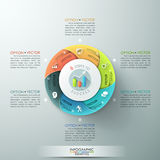 Modern infographics options banner. Modern infographics options banner with 6-part pie chart and icons. Vector. Can be used for web design and workflow layout Stock Illustration