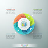Modern infographics options banner. Modern infographics options banner with 4-part pie chart and icons. Vector. Can be used for web design and workflow layout Vector Illustration