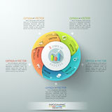 Modern infographics options banner. Modern infographics options banner with 5-part pie chart and icons. Vector. Can be used for web design and workflow layout Vector Illustration