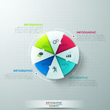 Modern infographics options banner. Modern infographics options banner with 4-part pie chart and icons. Vector. Can be used for web design and  workflow layout Stock Illustration