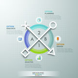 Modern infographics options banner. Modern infographics options banner with 4-part pie chart and icons. Vector. Can be used for web design and  workflow layout Royalty Free Illustration