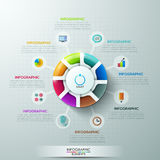 Modern infographics options banner. Modern infographics options banner with 8-part pie chart and icons. Vector. Can be used for web design and workflow layout Stock Illustration