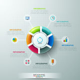 Modern infographics options banner. Modern infographics options banner with 6-part pie chart and icons. Vector. Can be used for web design and  workflow layout Vector Illustration