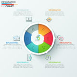 Modern infographics options banner. Modern infographics options banner with 6-part spiral pie chart and icons. Vector. Can be used for web design, marketing Royalty Free Illustration