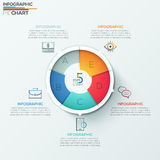 Modern infographics options banner. Modern infographics options banner with 5-part spiral pie chart and icons. Vector. Can be used for web design, marketing Stock Illustration