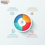 Modern infographics options banner. Modern infographics options banner with 4-part spiral pie chart and icons. Vector. Can be used for web design, marketing Vector Illustration
