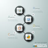 Modern infographics options banner. Modern infographics process template with 4 connected paper circles, flat icons on grey background. Vector. Can be used for Stock Illustration