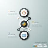 Modern infographics options banner. Modern infographics process template with 3 connected paper circles, flat icons on grey background. Vector. Can be used for Vector Illustration