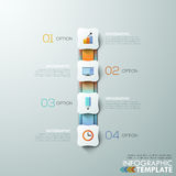 Modern infographics options banner. Modern infographics process template with 4 connected paper rectangles, ribbons and flat icons on grey background. Vector Royalty Free Illustration