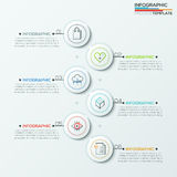 Modern infographics options banner. Modern infographics process template with 6 paper circles and icons. Vector. Can be used for web design and workflow layout Vector Illustration