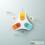 Modern infographics options banner. Modern infographics process template with paper triangle shape and flat icons for 3 options. Vector. Can be used for web Royalty Free Illustration