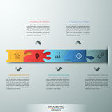 Modern infographics options banner. Modern infographics process template with realistic colorful ribbons and big numbers from 0 to 5 steps. Vector. Can be used Vector Illustration