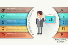 Modern infographics options banner with realistic arrow. Vector. Can be used for web design and workflow layout. Modern infographics options banner with flat Royalty Free Illustration