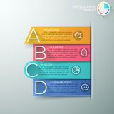 Modern infographics options banner. Modern infographics options banner with 4 realistic colorful ribbons and big letters for 4 options. Vector. Can be used for Stock Illustration
