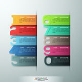 Modern infographics options banner. Modern infographics options banner with realistic colorful ribbons and big numbers from 0 to 9. Vector. Can be used for Royalty Free Illustration