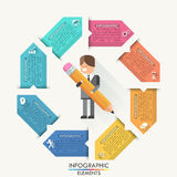 Modern infographics options banner with realistic. Modern infographics cycle template with flat style doodle businessman and paper ribbons for 8 options. Vector Royalty Free Illustration