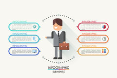 Modern infographics options banner with realistic. Modern infographics options banner with flat style doodle businessman and colorful frames for 6 options Vector Illustration