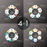 Modern infographics options banner. Set of 4 modern infographics options banner with 3, 4, 5 and 6-part paper chart and icons. Vector. Can be used for web Stock Illustration
