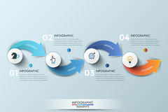 Modern infographics options banner. Modern infographics options banner with 4-step arrows process. Vector. Can be used for web design, presentations, brochures Royalty Free Stock Photography