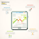 Modern Infographics Options Banner. Modern infographics options banner with tablet and growth arrow made of colorful lines in unusual outline style. Vector. Can Stock Illustration