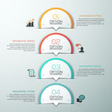 Modern infographics options banner. Modern infographics template with 4 paper circles and icons on grey background. Vector. Can be used for web design and Stock Illustration