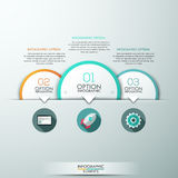 Modern infographics options banner. Modern infographics template with 4 paper circles and icons on grey background. Vector. Can be used for web design and Vector Illustration
