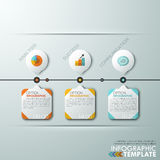 Modern infographics options banner. Modern infographics timeline template with paper circles, rectangles and flat icons on grey background. Vector. Can be used Royalty Free Illustration