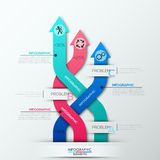 Modern infographics options banner. With 3 weaved colorful paper arrows. Vector. Can be used for web design and  workflow layout Vector Illustration