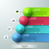 Modern infographics options banner. With white colorful paper ribbons and pyramids for 4 options. Vector. Can be used for web design and workflow layout Stock Photography