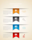 Modern infographics options template with paper sheets, icons for 4 options. Vector. Royalty Free Stock Photos