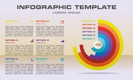 Modern infographics options template vector with colorful circle. On light orange background with text on side. Can be used for web design, brochure Royalty Free Stock Photo
